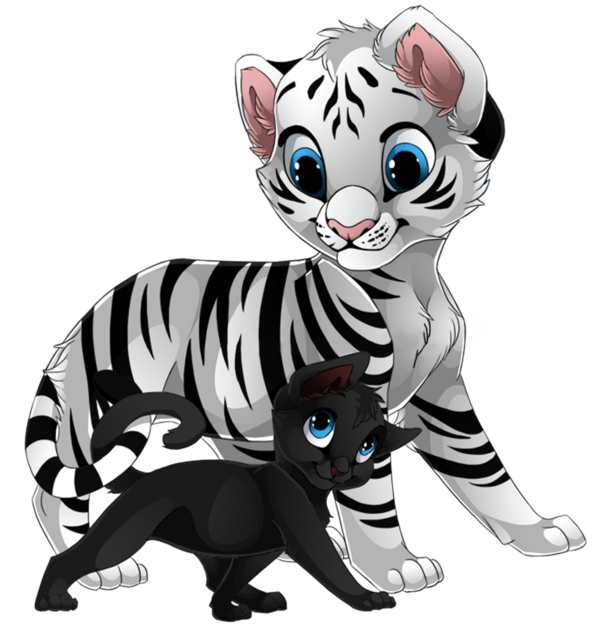 tigre blanc et petit chat noir - Dessin De Chaton Trop Mignon 2