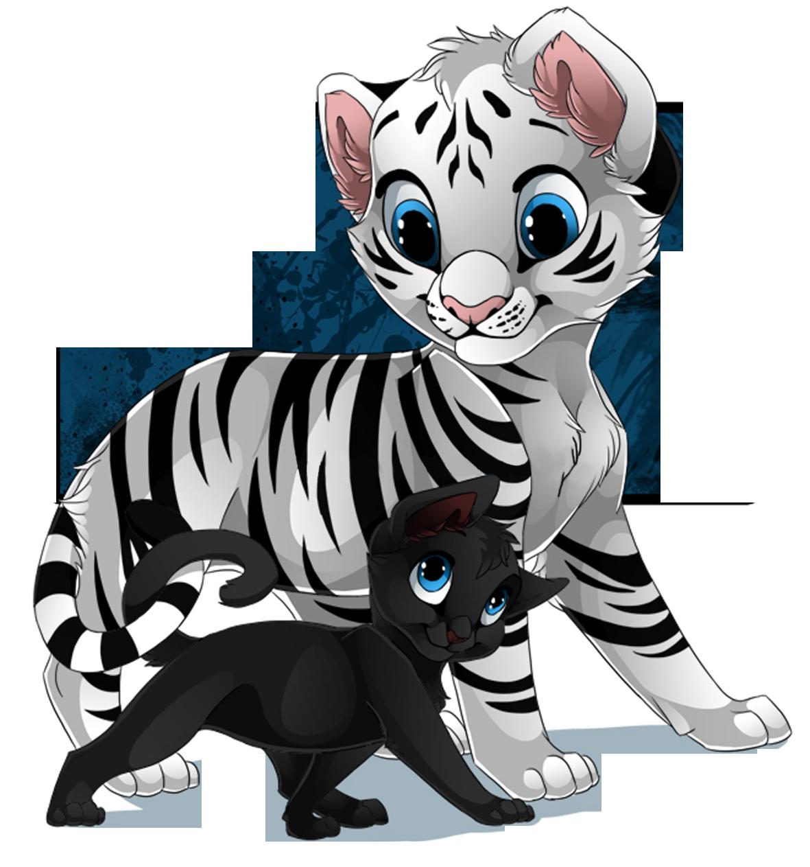 Tigre Blanc Et Petit Chat Noir
